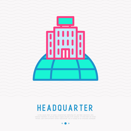 Headquarter on globe thin line icon. Modern vector illustration of globel business.