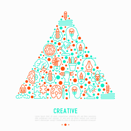 Creative concept in triangle with thin line icons: generation of idea, start up, brief, brainstorming, puzzle, color palette, creative vision. Modern vector illustration for web page, print media. Illustration