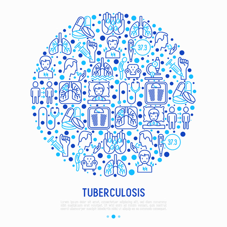 Tuberculosis concept in circle with thin line icons: infection in lungs, x-ray image, dry cough, pain in chest and shoulders, Mantoux test, weight loss. Modern vector illustration for banner, web page