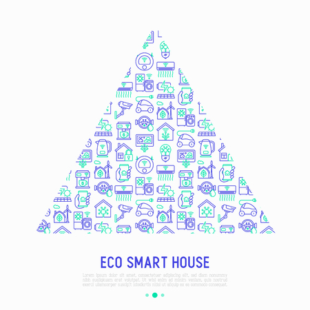 Eco smart house concept in triangle with thin line icons: solar battery, security, light settings, appliances, artificial intelligence, mobile app control. Energy saving vector illustration.  イラスト・ベクター素材