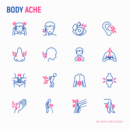 Body aches thin line icons set: migraine, toothache, pain in eyes, ear, nose, when urinating, chest pain, menstrual, joint, arthritis, rheumatism. Modern vector illustration. Stok Fotoğraf - 111953724