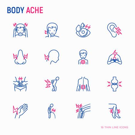 Conjunto de iconos de línea fina de dolores corporales: migraña, dolor de muelas, dolor en los ojos, oídos, nariz, al orinar, dolor en el pecho, menstrual, articulación, artritis, reumatismo. Ilustración vectorial moderna. Ilustración de vector
