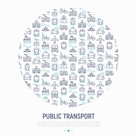 Public transport concept in circle with thin line icons: train, bus, taxi, ship, ferry, trolleybus, tram, car sharing. Front and side view. Vector illustration for banner, web page, print media. 矢量图片