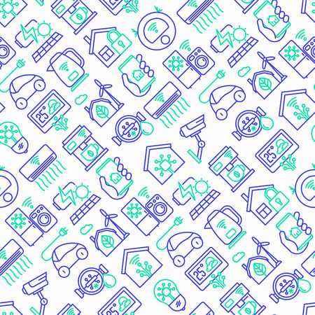 Eco smart house seamless pattern with thin line icons: solar battery, security, light settings, appliances, artificial intelligence, mobile app control. Energy saving vector illustration.