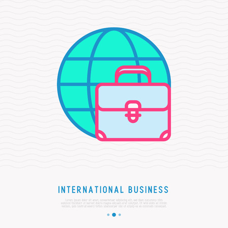 International business: briefcase on globe thin line icon. Modern vector illustration.