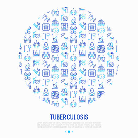 Tuberculosis concept in circle with thin line icons: infection in lungs, x-ray image, dry cough, pain in chest and shoulders, Mantoux test, weight loss. Vector illustration for banner, print media