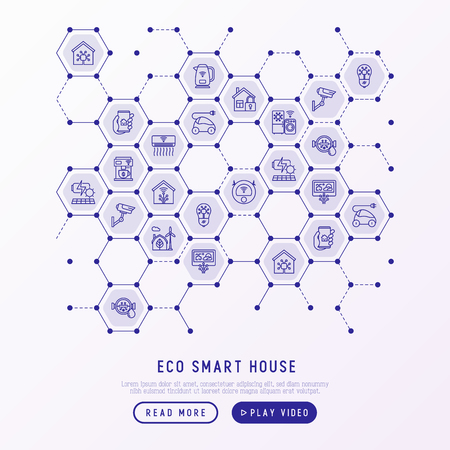 Eco smart house concept in honeycombs with thin line icons: solar battery, security, light settings, appliances, artificial intelligence, mobile app control. Energy saving vector illustration.