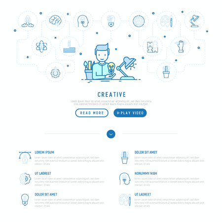 Creative concept: creator generates idea, with thin line icons: start up, brief, brainstorming, puzzle, color palette, creative vision, genius. Modern vector illustration, web page template. Ilustração
