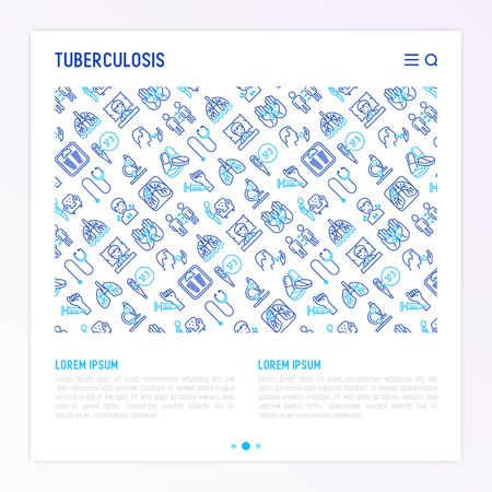Tuberculosis concept with thin line icons: infection in lungs, x-ray image, dry cough, pain in chest and shoulders, Mantoux test, weight loss. Modern vector illustration for banner, web page template. 일러스트