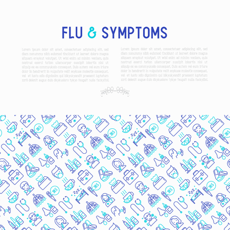 Flu and symptoms concept thin line icons: temperature, chills, heat, runny nose, bed rest, doctor with stethoscope, nasal drops, cough, phlegm in the lungs. Vector illustration for medical report