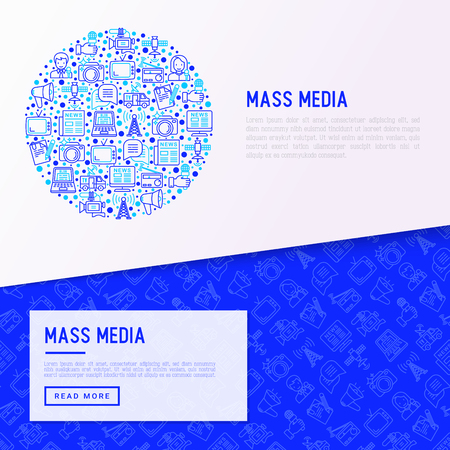 Mass media concept in circle with thin line icons: journalist, newspaper, article, blog, report, radio, internet, interview, video, photo. Modern vector illustration for banner, print media, web page.