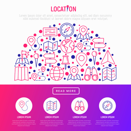 Location concept in half circle with thin line icons: pin, pointer, direction, route, compass, wall needle, cursor, navigation, gps, binoculars. Modern vector illustration for web page, print media.