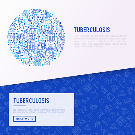 Tuberculosis concept in circle with thin line icons: infection in lungs, x-ray image, dry cough, pain in chest and shoulders, Mantoux test. Modern vector illustration for banner, web page template.