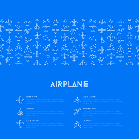 Airplane concept with thin line icons: agricultural aircraft, passenger's plane, military aviation, paper plane. Top, side, front views. Modern vector illustration for print media, banner, web page. Vectores