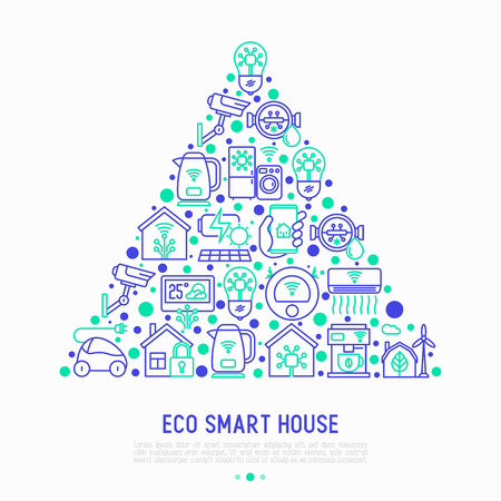 Eco-smart house concept in a triangle with thin line icons Stock Illustratie