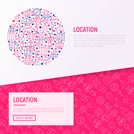 Location concept in circle with thin line icons: pin, pointer, direction, route, compass, wall needle, cursor, navigation, gps, binoculars. Modern vector illustration for banner, web page template.
