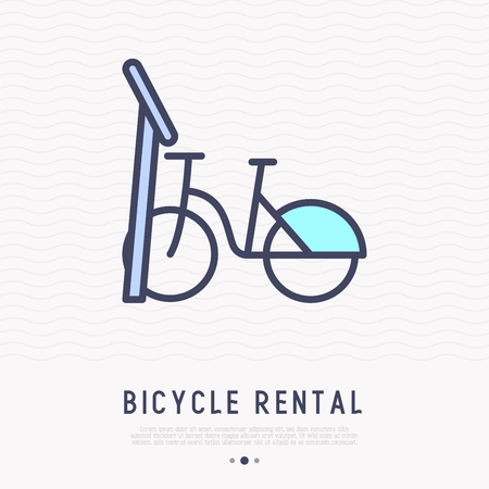 Bicycle rental thin line icon. Modern vector illustration of public transport.