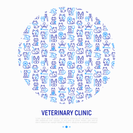 Veterinary clinic concept in circle with thin line icons: broken leg, protective collar, injection, cardiology, cleaning of ears, shearing claws, bandage on eye, blood transfusion. Vector illustration