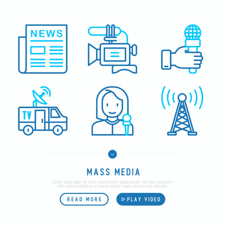 Mass media thin line icons set: newspaper, article, blog, report, radio, internet, interview, video, journalist. Modern vector illustration, web page template. Ilustração