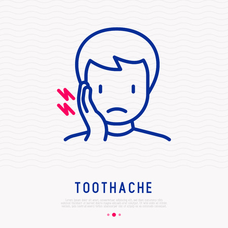 Man with toothache thin line icon. Modern vector illustration.