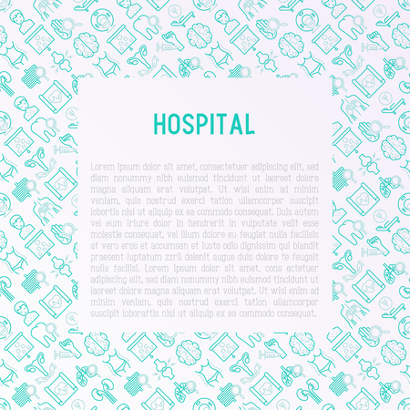 Hospital concept with thin line icons for doctors notation: neurologist, gastroenterologist, manual therapy, ophtalmologist, cardiology, allergist, dermatologist, dentist. Vector illustration. Illustration