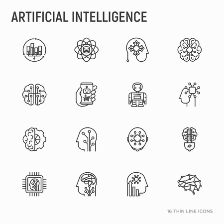Artificial intelligence thin line icons set: robot, brain, machine learning, marketing analytics, cpu, chip, voice assistant. Modern vector illustration.