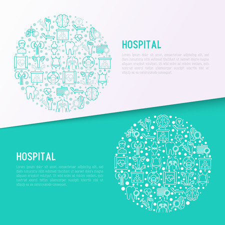 Hospital concept in circle with thin line icons for doctors notation: neurologist, gastroenterologist, manual therapy, ophtalmologist, cardiology, allergist, dermatologist. Vector illustration.