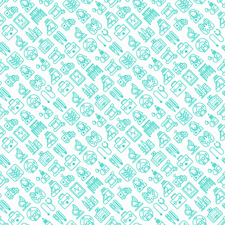 Medicine seamless pattern with thin line icons