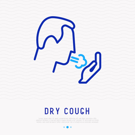Coughing man thin line icon. Modern vector illustration of lung disease, asthma, bronchitis. Illustration