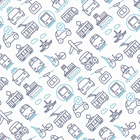 Public transport seamless pattern with thin line icons: train, bus, taxi, ship, ferry, trolleybus, tram, car sharing. Front and side view. Modern vector illustration.