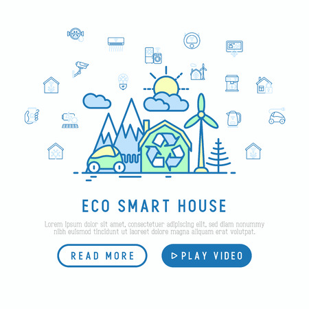 Eco smart house in mountains with wind generator and electrocar concept with thin line icons around: solar battery, security, light settings, appliances, mobile app control. Vector illustration.