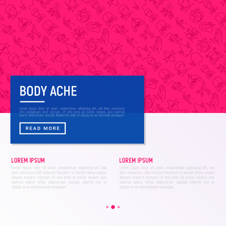 Body aches concept with thin line icons: migraine, toothache, pain in eyes, ear, nose, when urinating, chest pain, menstrual, joint, arthritis, rheumatism. Vector illustration for web page template. Stock Vector - 111737900