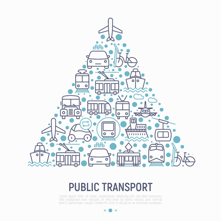 Public transport concept in triangle with thin line icons: train, bus, taxi, ship, ferry, trolleybus, tram, car sharing. Front and side view. Modern vector illustration for banner, print media.