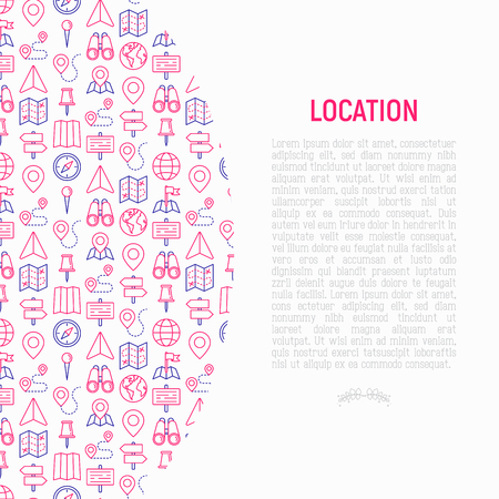 Location concept with thin line icons: pin, pointer, direction, route, compass, wall needle, cursor, navigation, gps, binoculars. Modern vector illustration for banner, web page, print media.