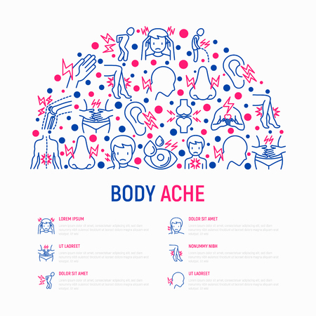 Body aches concept in half circle with thin line icons: migraine, toothache, pain in eyes, when urinating, chest pain, menstrual, joint, arthritis, rheumatism. Vector illustration, web page template.