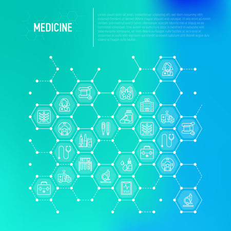 Medicine concept in honeycombs with thin line icons: doctor, ambulance, stethoscope, microscope, thermometer, hospital, z-ray image, MRI scanner, tonometer. Modern vector illustration.