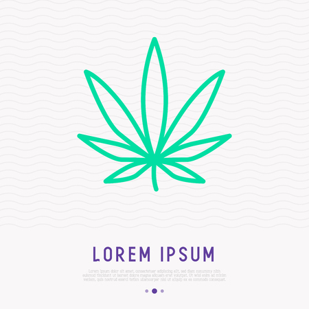 Leaf of marijuana thin line icon. Modern vector illustration. Banco de Imagens - 106962321