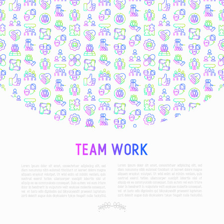 Teamwork concept with thin line icons: group of people, mutual assistance, meeting, handshake, tug-of-war, cooperation, puzzle, team spirit, cooperation. Vector illustration for banner, print media.