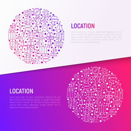 Location concept in circle with thin line icons: pin, pointer, direction, route, compass, wall needle, cursor, navigation, gps, binoculars. Vector illustration for banner, web page, print media. Ilustração