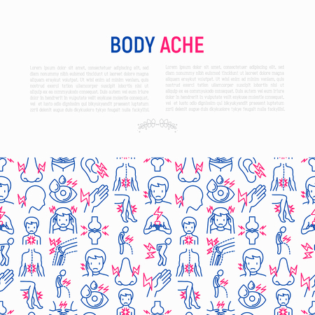 Body aches concept with thin line icons: migraine, toothache, pain in eyes, ear, nose, when urinating, chest pain, menstrual, joint, arthritis, rheumatism. Vector illustration for banner, print media. Illustration
