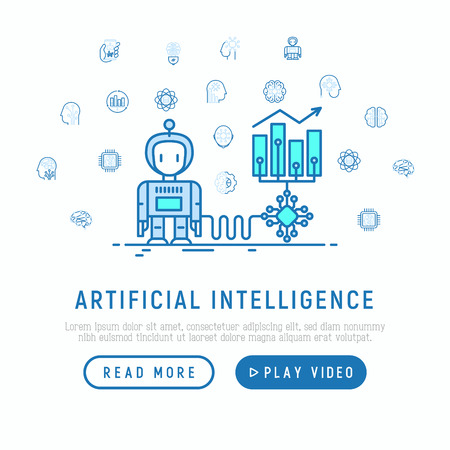 Artificial intelligence helps to increase profit with thin line icons: robot, brain, machine learning, marketing analytics, cpu, chip, voice assistant. Modern vector illustration, web page template.
