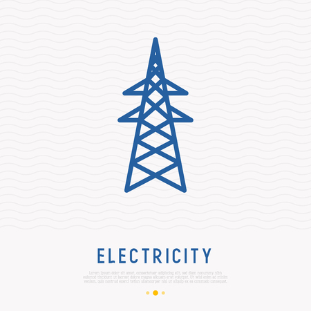 High voltage electric line tower support. Thin line icon. Modern vector illustration. Banque d'images - 111628862