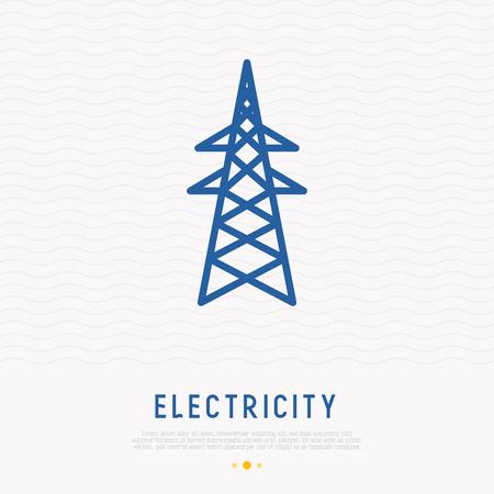 Support de pylône de ligne électrique haute tension. Icône de fine ligne. Illustration vectorielle moderne.