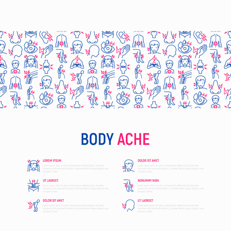 Body aches concept with thin line icons: migraine, toothache, pain in eyes, nose, when urinating, chest pain, menstrual, joint, arthritis, rheumatism. Vector illustration for banner, web page template
