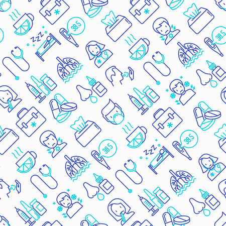 Flu and symptoms seamless pattern with thin line icons: temperature, chills, heat, runny nose, bed rest, doctor with stethoscope, nasal drops, cough, phlegm in the lungs. Modern vector illustration.