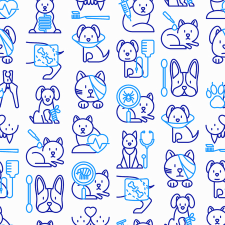 Veterinary clinic seamless pattern with thin line icons: broken leg, protective collar, injection, cardiology, cleaning of ears, shearing claws, bandage on eye, blood transfusion. Vector illustration. Stock Illustratie