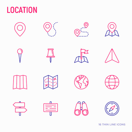 Location thin line icons set: pin, pointer, direction, route, compass, wall needle, cursor, navigation, gps, binoculars. Modern vector illustration. Banco de Imagens - 107164954