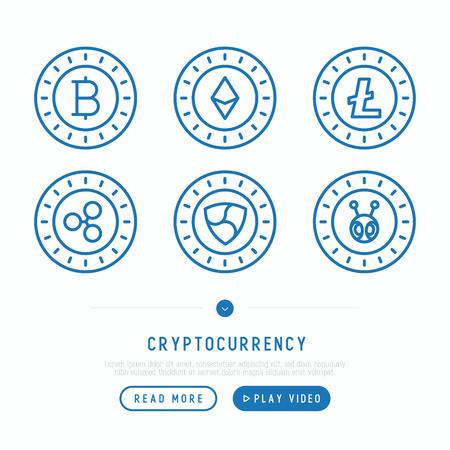 Cryptocurrency thin line icons set: Bitcoin; Ethereum; Ripple; Litecoin; NEM; Antshares. Modern vector illustration.