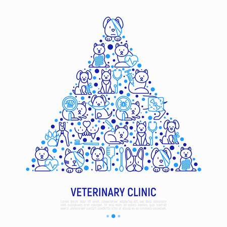 Veterinary clinic concept in triangle with thin line icons: broken leg, protective collar, injection, cardiology, cleaning of ears, teeth, shearing claws, bandage on eye. Vector illustration.