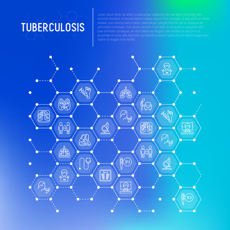 Tuberculosis concept in honeycombs with thin line icons: infection in lungs, x-ray image, dry cough, pain in chest and shoulders, Mantoux test, weight loss. Modern vector illustration.
